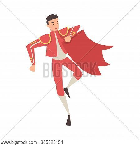 Bullfighter, Toreador, Picador Character Dressed In Red Costume, Spanish Corrida Traditional Perform