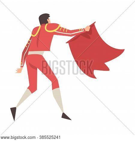 Rare View Man Bullfighter, Toreador Character Dressed In Red Costume, Spanish Bullfighting Tradition