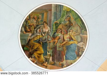 SVETI IVAN ZELINA, CROATIA - JUNE 26, 2013: Birth of Saint John the Baptist fresco in the parish church of Saint John the Baptist in Sveti Ivan Zelina, Croatia