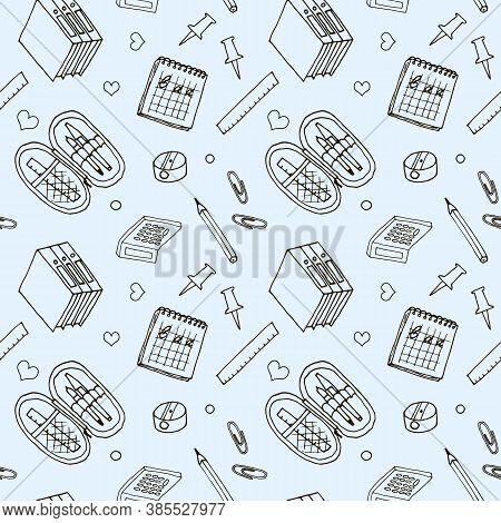 Seamless Pattern, School Theme, Background. Seamless Background On A School Theme.