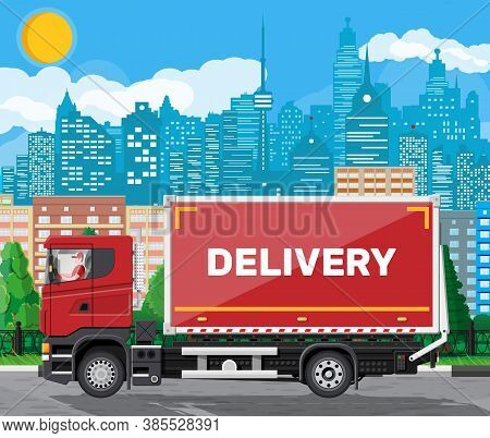 Red Delivery Van At Cityscape Background. Express Delivering Services Commercial Truck. Concept Of F