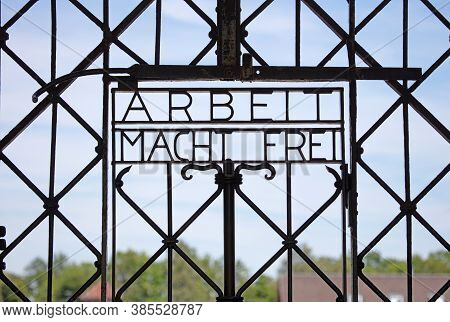 Dachau, Germany On July 13, 2020: Dachau Concentration Camp Entrance Gate, The Entrance To The First