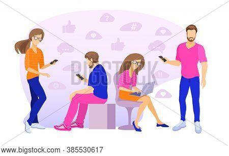 Men And Women Using Laptop, Smartphone. Chatting, Blogging. Vector Illustration.