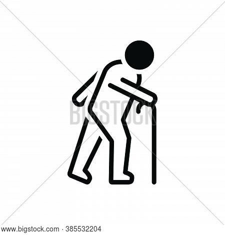 Black Solid Icon For Elderly Aged Old Aging Veteran Oldish Septuagenarian Gaffer Old-age Senility Pe