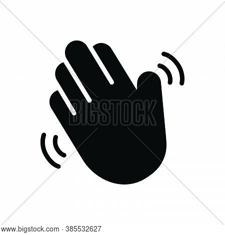 Black Solid Icon For Hello Hiya Hey Howdy Welcome Greetings Hand-wave Gesture