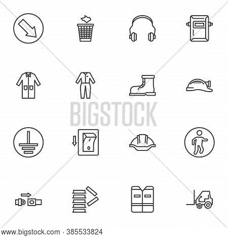 Safety Mandatory Signs Line Icons Set, Outline Vector Symbol Collection, Linear Style Pictogram Pack
