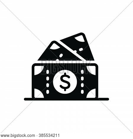 Black Solid Icon For Cash Currency Wealth Penny Moolah Piles Mammon Money Dollar