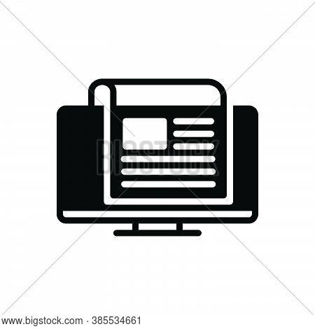 Black Solid Icon For News Story Newscast Headlines Tittle-tattle Rumour Tidings Scuttlebutt Bulletin