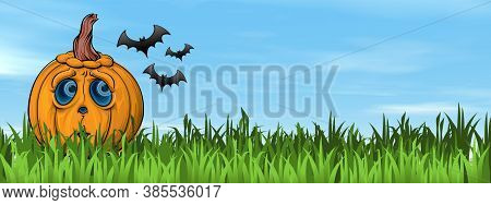 Sad Halloween Pumpkin Face On The Grass Next To Flying Bats By Beautiful Day - 3d Render
