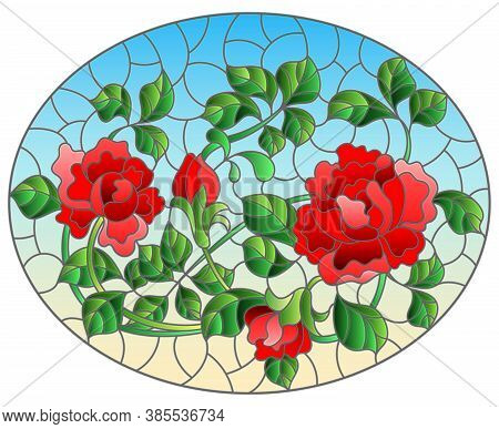 Illustration In Stained Glass Style With Intertwined Red Roses On A Blue Background, Horizontal Orie