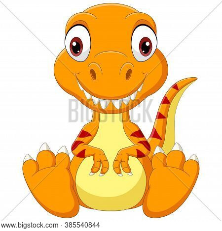 Vector Illustration Of Cartoon Baby Tyrannosaurus Dinosaur Sitting