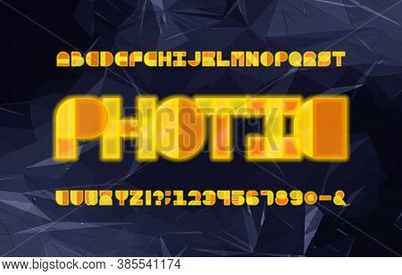 Photic Alphabet Font. Geometric Neon Letters, Numbers And Symbols. Abstract Polygonal Background. St