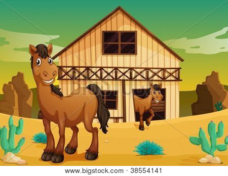 illustration of house and horses in a desert