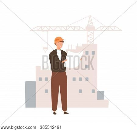 Male Builder Looking At Plan Of Constructing Vector Flat Illustration. Man Engineer Watching On Sche
