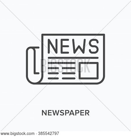 Newspaper Flat Line Icon. Vector Outline Illustration Of News Article. Latest Press Thin Linear Pict