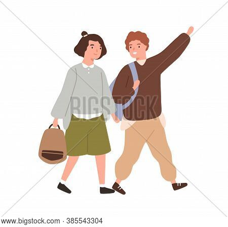 Cute Classmates Hurry To Primary School Together Vector Flat Illustration. Smiling Pupils Or Student