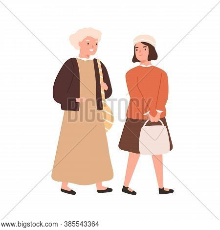 Schoolgirl And Grandmother Going To Primary School Together Vector Flat Illustration. Girl Student O