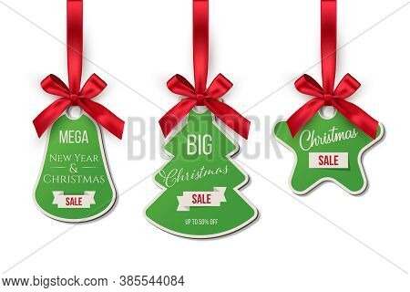 Christmas Sale Tags Offering Discounts Set. Festive Holiday Stickers With Red Ribbons. Green Stylish