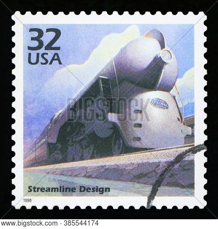 United States Of America, Circa 1998: A Postage Stamp Printed In Usa Showing An Image Of A Train Wit