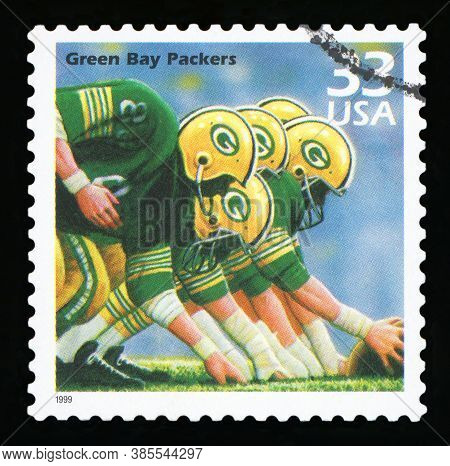 United States Of America, Circa 1999: A Postage Stamp Printed In Usa Celebrating The Five National F