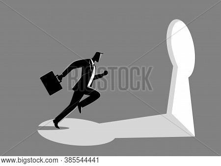 Business Concept Illustration Of A Businessman Running Towards A Key Hole. Business, Chance, Opportu