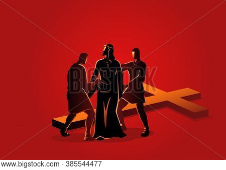 Biblical Vector Illustration Series. Way Of The Cross Or Stations Of The Cross, Tenth Station, Jesus