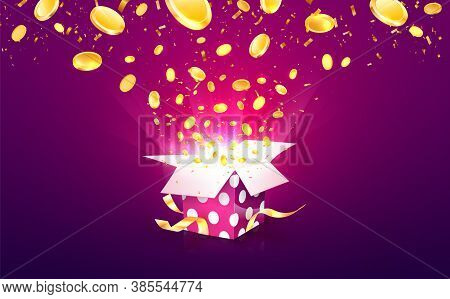 Winning Money Vector Illustration. Casino Online Betting Win. Gambling Background. Gift Box With Coi