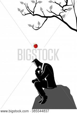 Business Concept Illustration Of An Apple Falling Dawn To The Head Of A Thinking Businessman