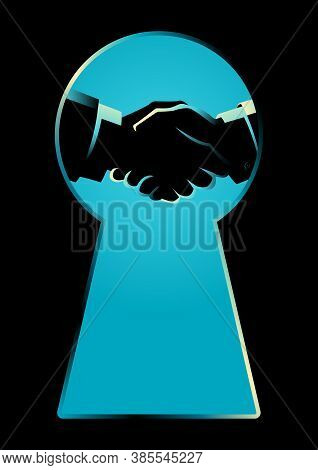 Business Concept Illustration Of Two Businessmen Shaking Hands Seen Through A Keyhole, Business Idio