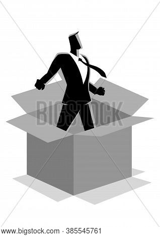 Business Concept Illustration Of A Businessman Comes Out Of The Box