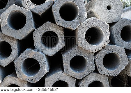 Close Up Cross-sectional Area Of Stacked Of Concrete Pile Stake