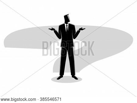 Business Concept Illustration Of A Businessman Standing On Question Mark Shadow