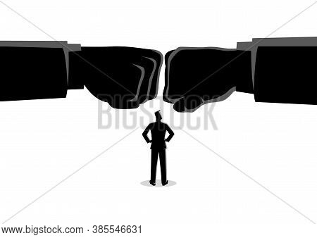 Business Concept Vector Illustration Of A Businessman Watching Two Giant Fist Clashed