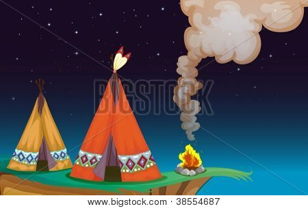 illustration of a tent house and fire in a dark night