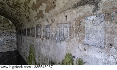 Abandoned Mighty Thick Concrete Bunker And Fortified Wall Of Old Vladivostok Fortress.
