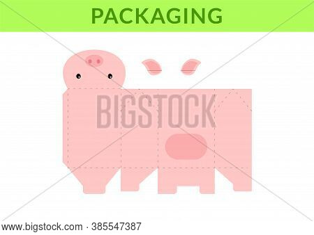 Adorable Diy Party Favor Box For Birthdays, Baby Showers With Cute Pig For Sweets, Candies, Small Pr