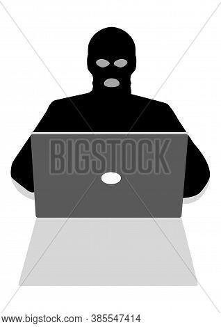 Vector Illustration Of A Hacker Behind Laptop Computer