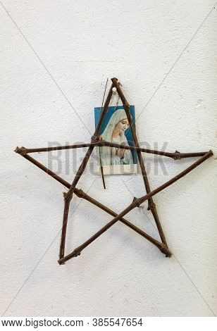 Camacha, Madeira, Portugal - April 19, 2018: Star Of David And Mother Of God At The Wicker Factory I