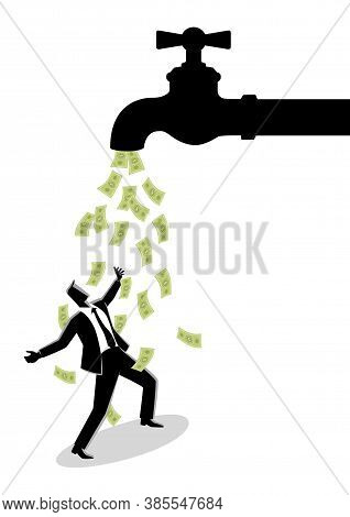 Business Concept Vector Illustration Of A Businessman Standing Under Water Tap Flows With Banknotes
