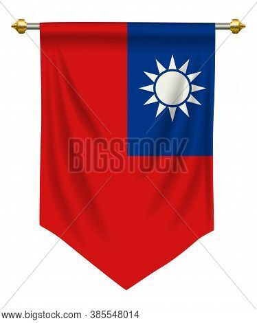Taiwan Flag Or Pennant Isolated On White
