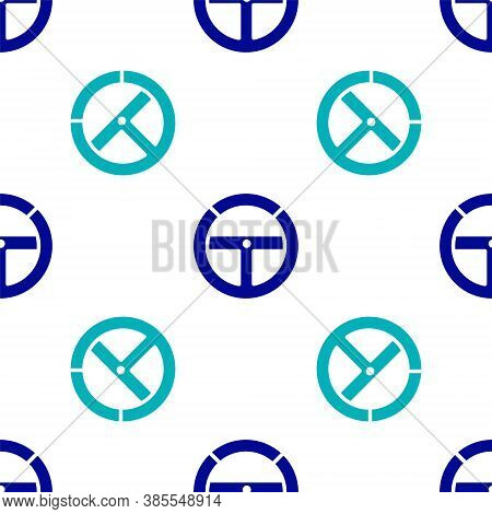 Blue Steering Wheel Icon Isolated Seamless Pattern On White Background. Car Wheel Icon. Vector Illus