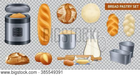 Realistic Bread Pastry Transparent Set With Isolated Images Of Loafs And Kitchenware For Baking With