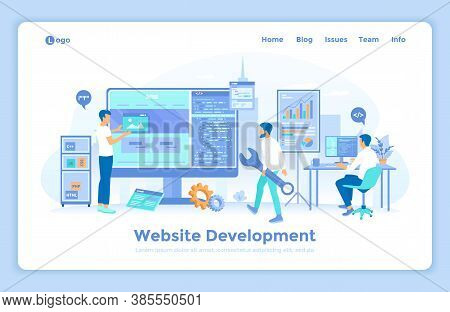 Website Development, Programming, Optimization. Team Of Web Developers Working On Computer, Building