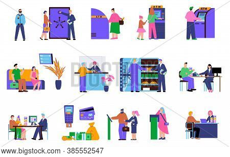 Bank Flat Icon Set With Customers At The Atm Safe Deposit Box Receive A Loan Money From Deposit And