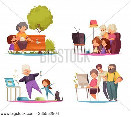 Grandma And Grandpa Concept Icons Set With Leisure And Pastime Symbols Flat Isolated Vector Illustra