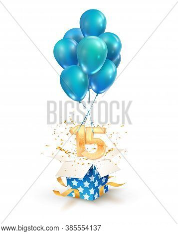 15th Years Celebrations. Greetings Of Fifteen Birthday Isolated Vector Design Elements. Open Texture