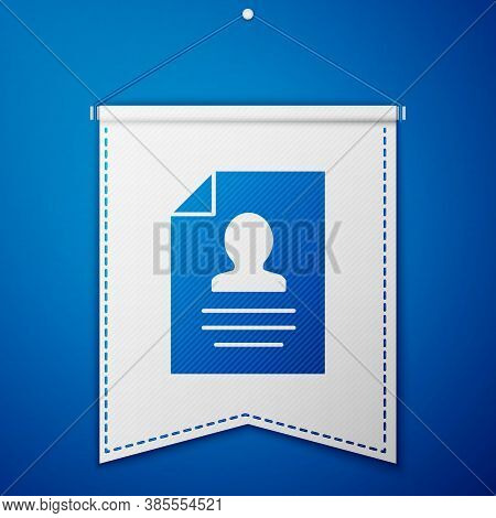 Blue Resume Icon Isolated On Blue Background. Cv Application. Searching Professional Staff. Analyzin