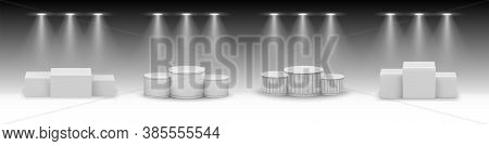 Realistic Podiums Set Collection. Mockup Of Realism Style Drawn Round And Square Empty Stages And St