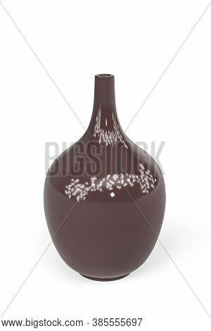 Round Tall Narrow Neck Brown Glass Vase Isolated On White - 3d Render