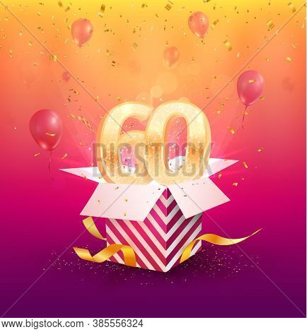 60th Years Anniversary Vector Design Element. Isolated Sixty Years Jubilee With Gift Box, Balloons A